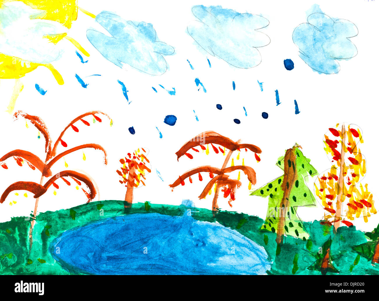 Children Drawing Rain Over Forest Lake Stock Photo