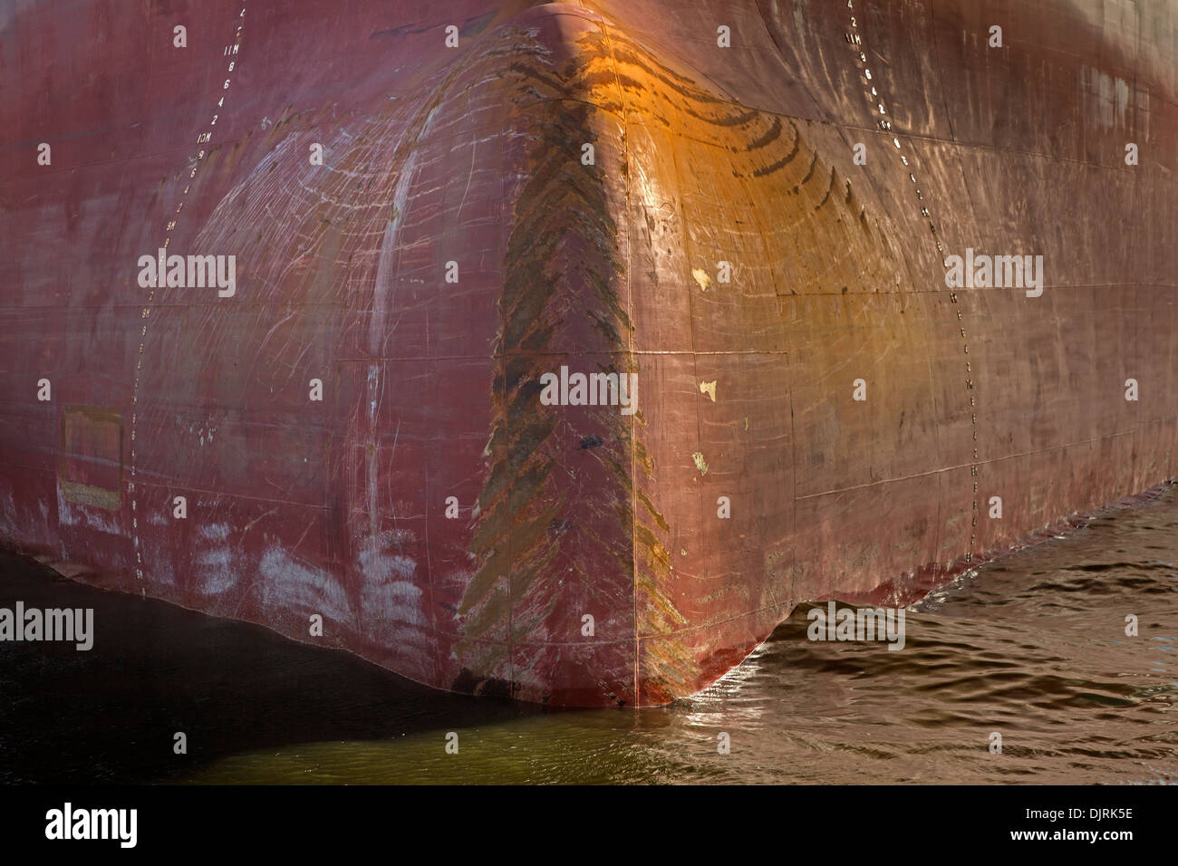 Bow of a ship, Hamburg harbour, Germany, Europe - Stock Image