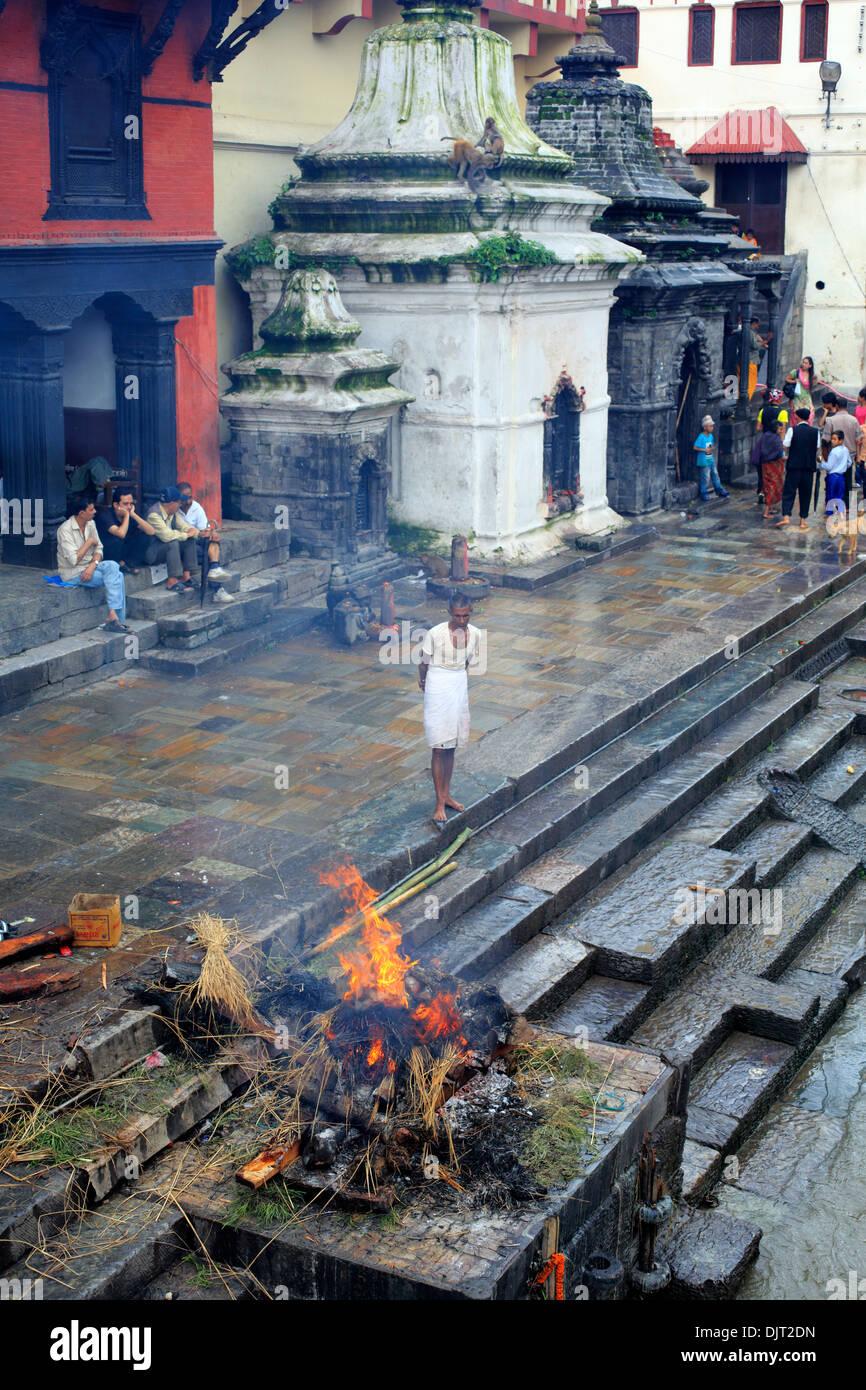 Cremation area, Pashupatinath, Kathmandu, Nepal - Stock Image
