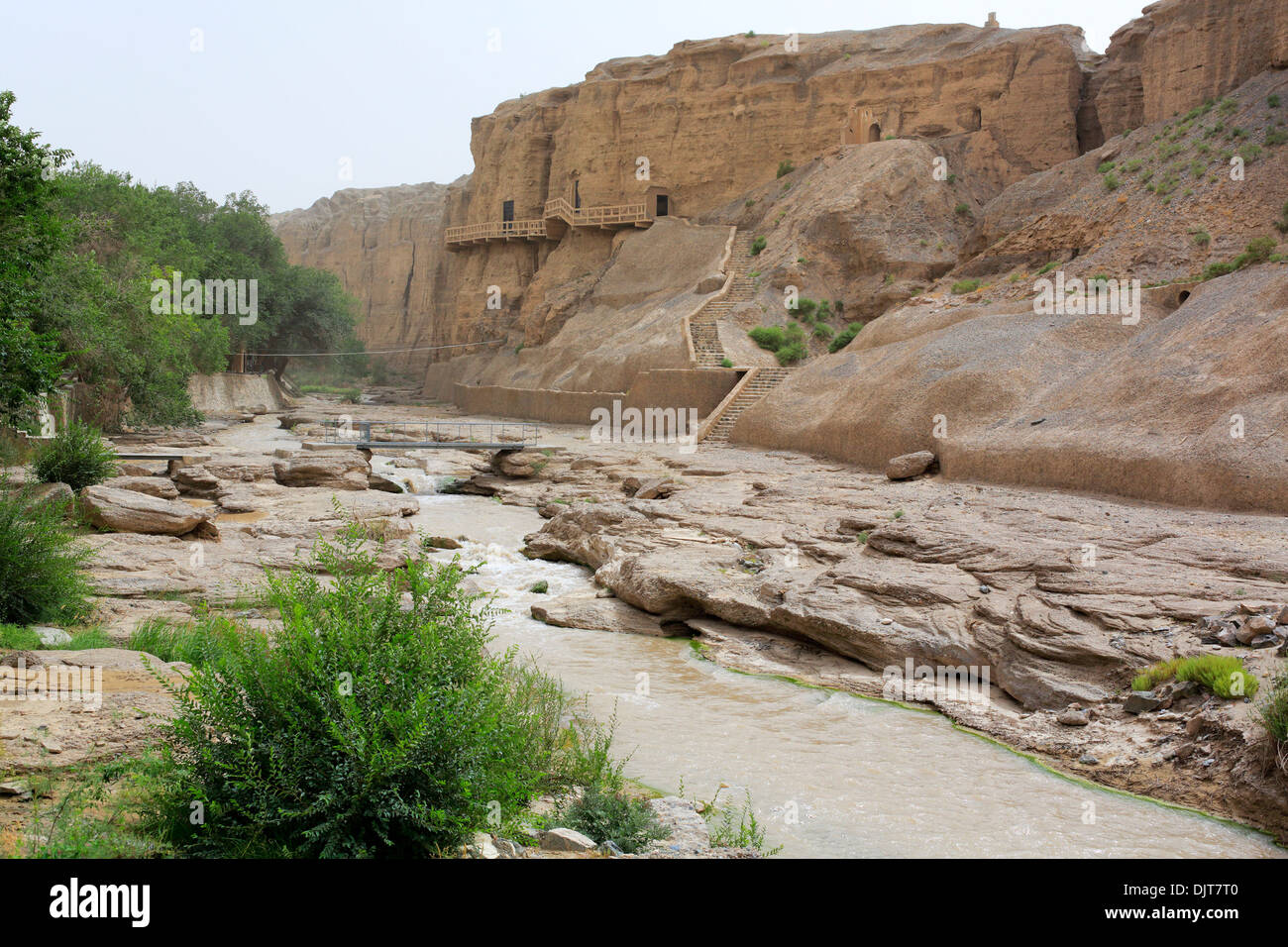 Yuilin valley and grottoes, Gansu province, China - Stock Image