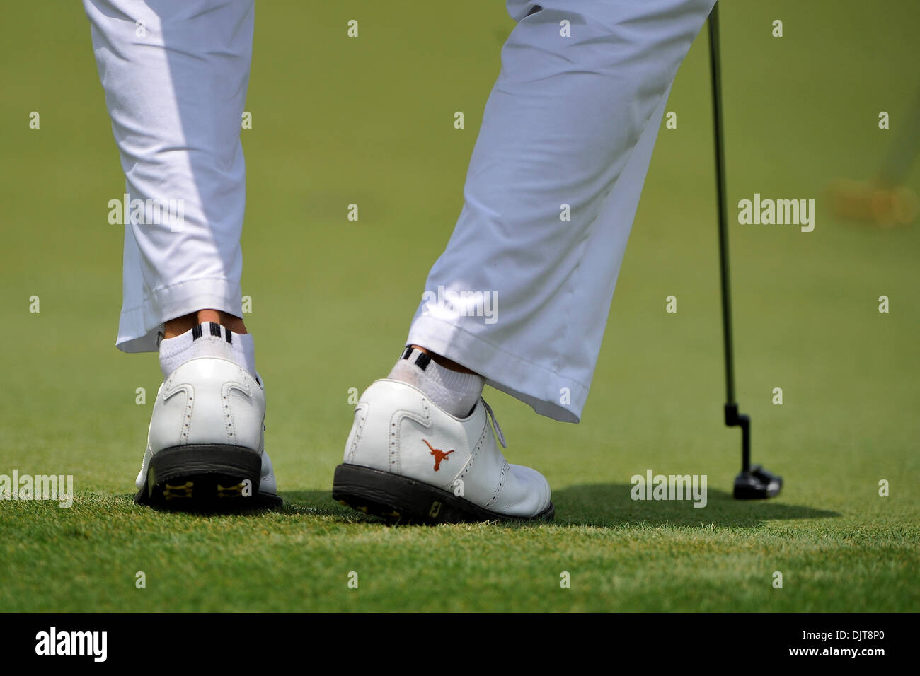 6a5fa312a7abc8 Jordan Spieth sports University of Texas golf shoes during the HP Byron  Nelson Championship at TPC