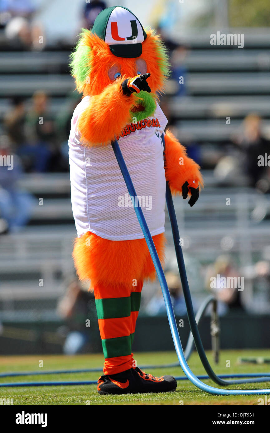 The Miami Maniac directs field crew pre-game..The 5th ranked Florida Gators beat the 10th ranked Miami Hurricanes 4-2 at Alex Rodriguez Park in Coral Gables, Florida. (Credit Image: © Ron Hurst/Southcreek Global/ZUMApress.com) - Stock Image