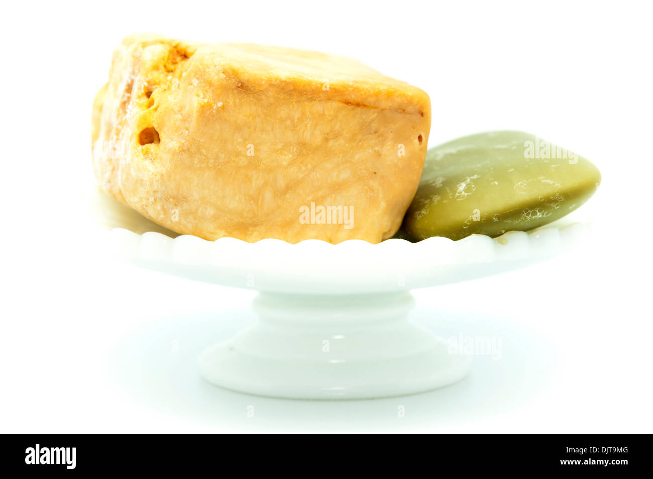 smells soaps on a white background - Stock Image
