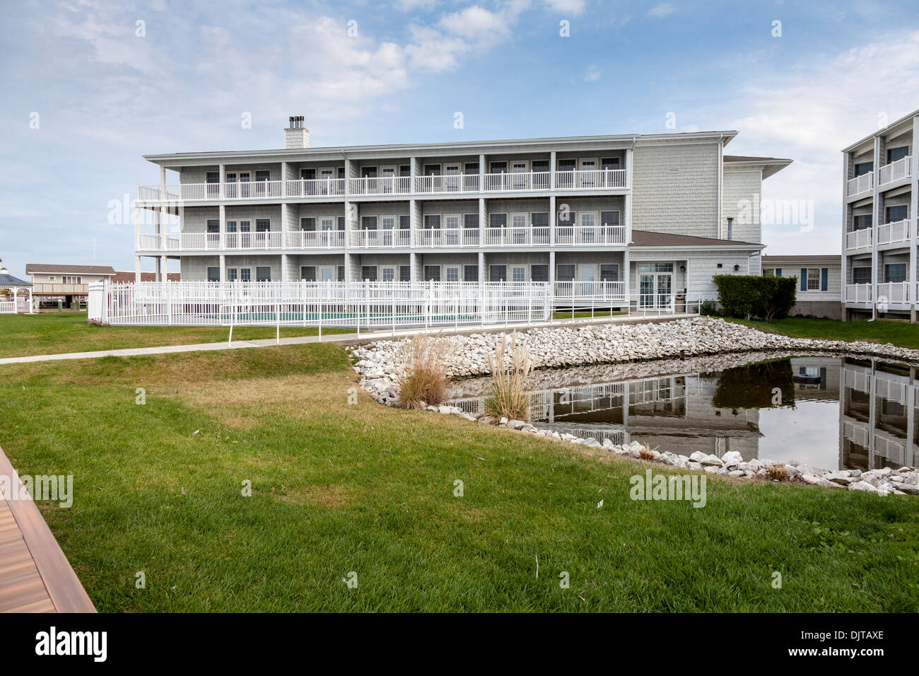 Vacation lodging and resorts on Chincoteague Island - Stock Image