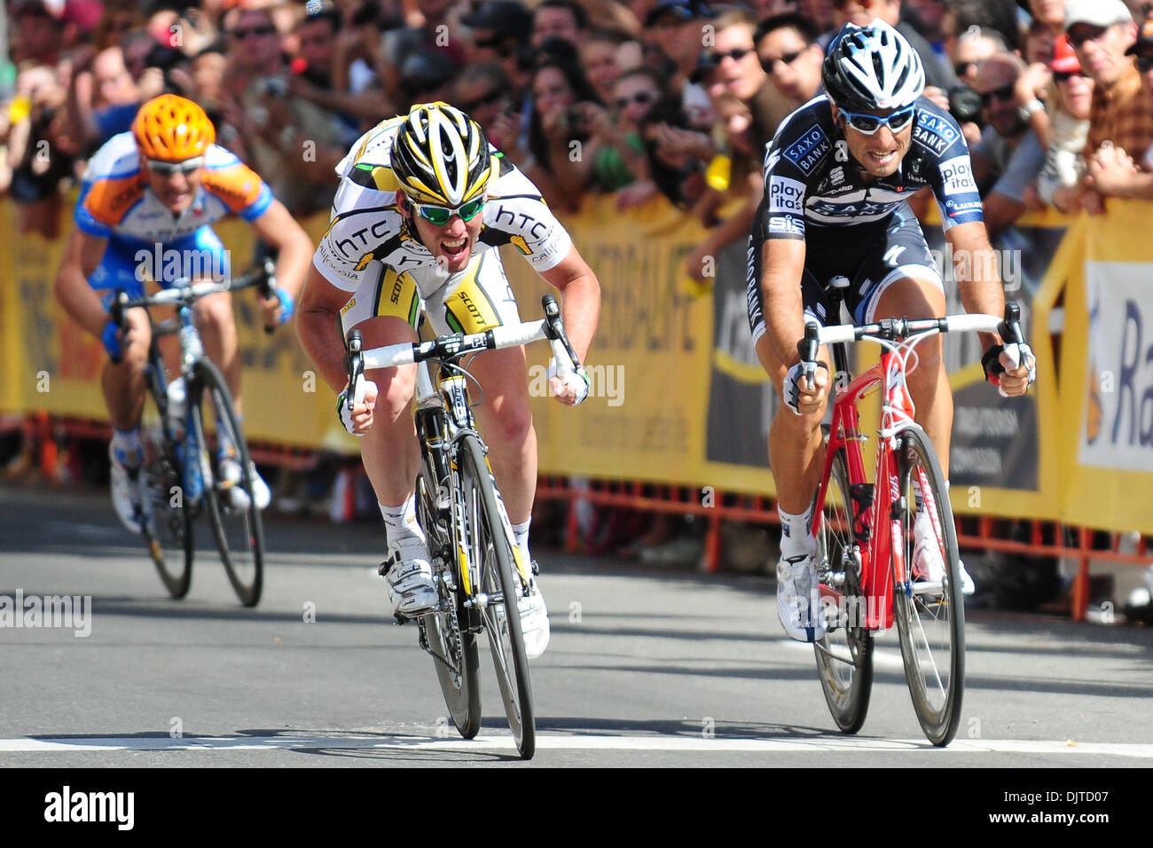 Mark Cavendish of Team HTC-Columbia outsprints Juan Jose Haedo of Team Saxo  Bank for the victory at Stage 1 of the Tour of California. 48f976910