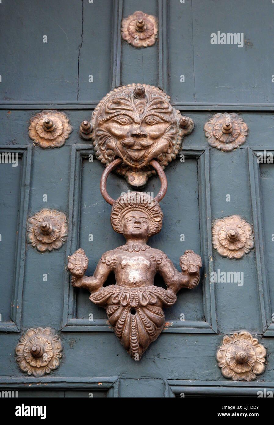 Detail of the entrance door to Machu Picchu museum / Casa Concha, Cuzco, Peru. - Stock Image