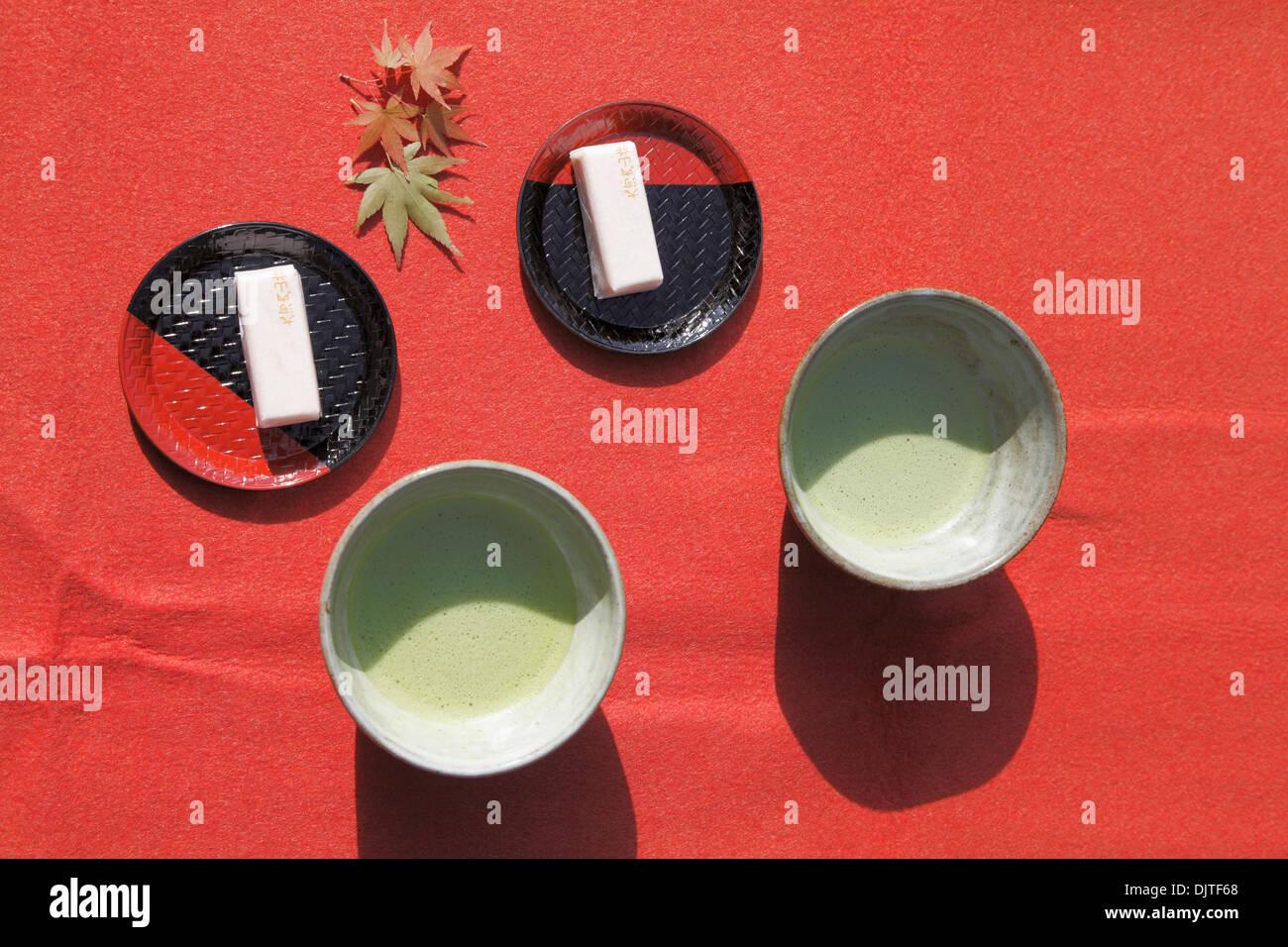 Japan, Kyoto, matcha powdered tea service, - Stock Image