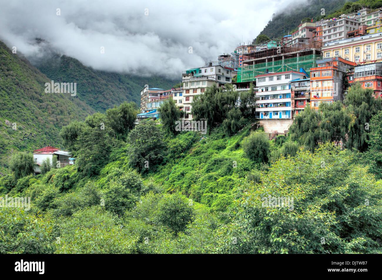 Zhangmu town, Tibet, China - Stock Image
