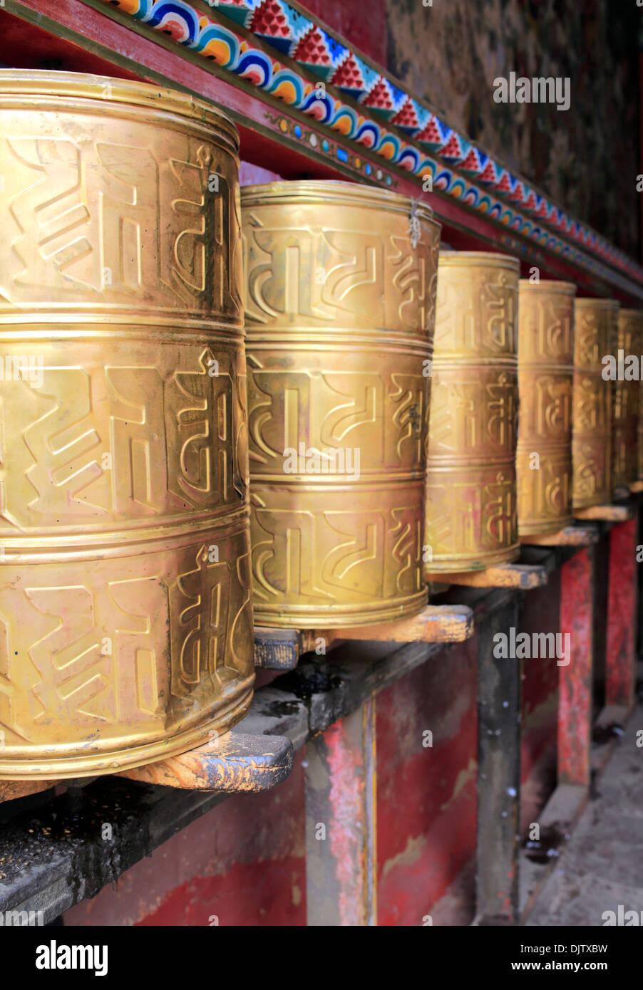 Prayer wheels, Sakya Monastery, Shigatse Prefecture, Tibet, China - Stock Image