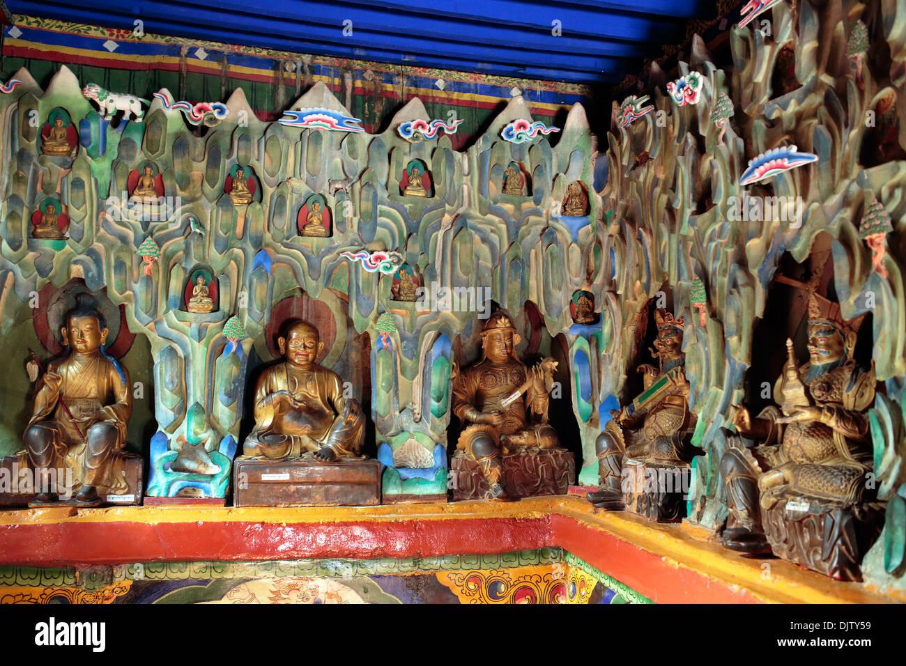 Statue of Green Tara, Main temple, Palcho Monastery, Tibet, China - Stock Image