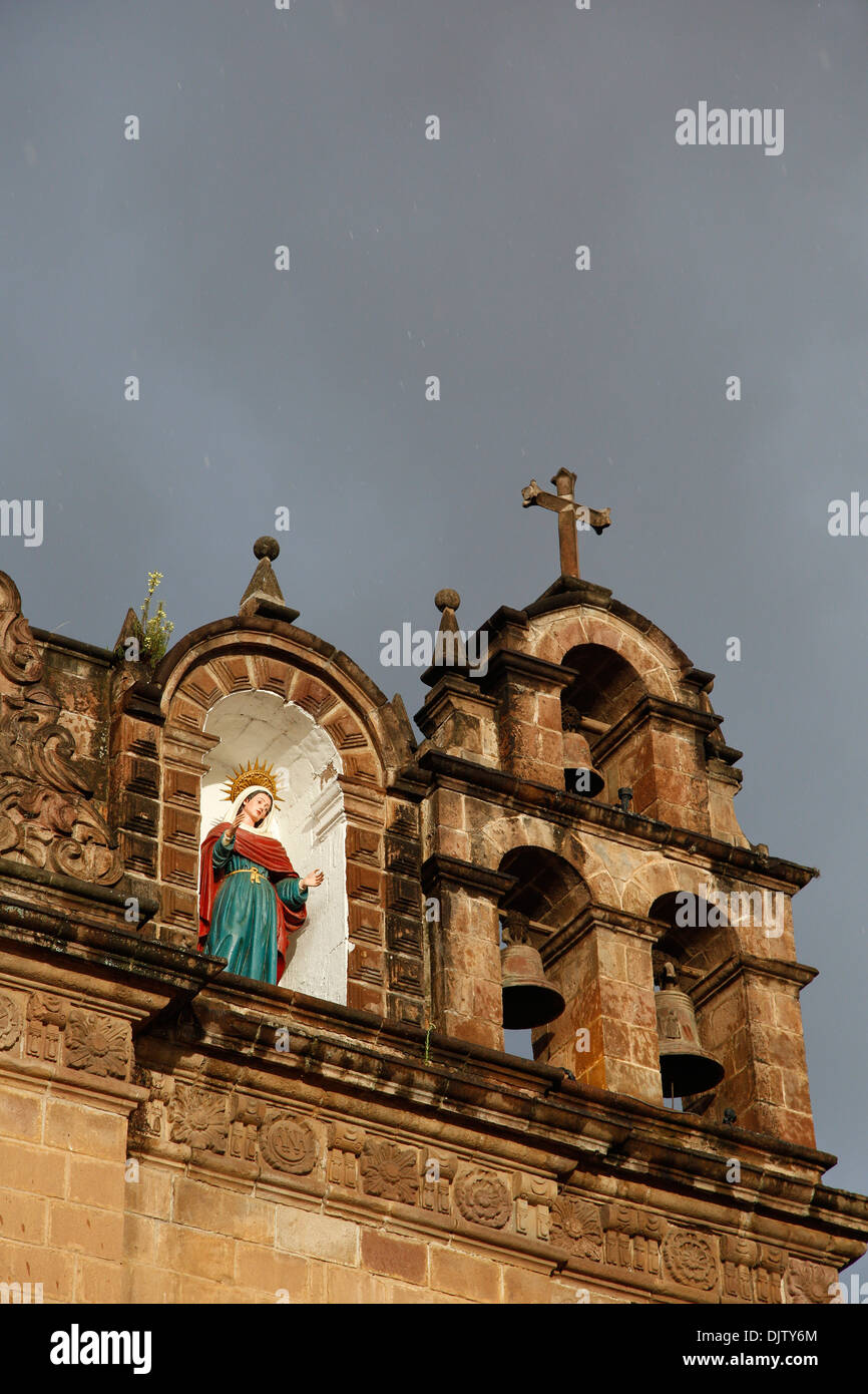 Detail of the Iglesia de Jesus Maria adjusted to the Cathedral in Plaza de Armas, Cuzco, Peru. - Stock Image
