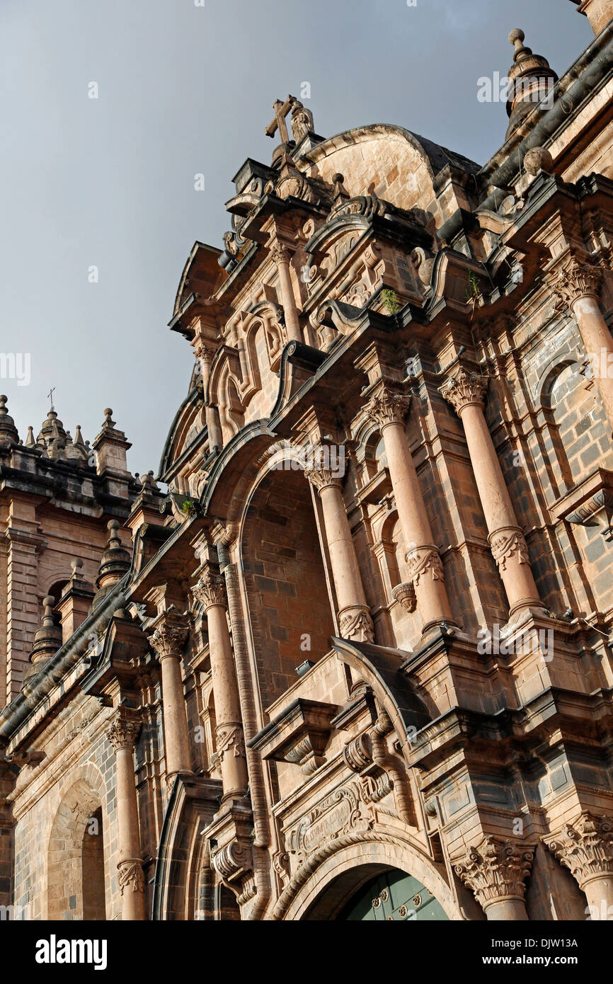 Detail of the Cathedral in Plaza de Armas, Cuzco, Peru. - Stock Image