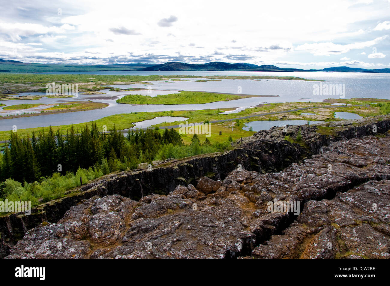 Tectonic plates, Pingvellir National Park, Iceland - Stock Image
