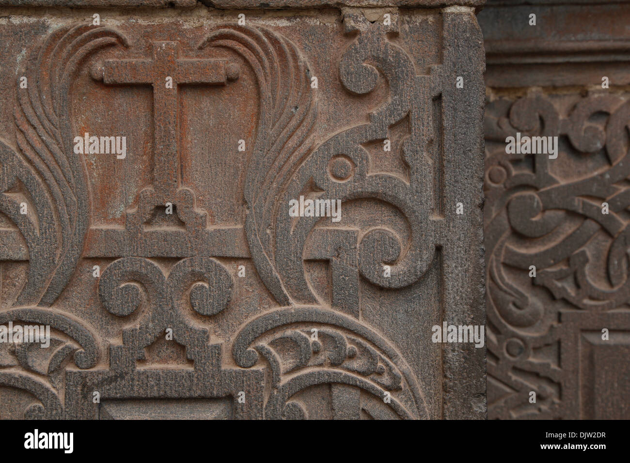 Detail of a the wall of Iglesia de la Compania de Jesus church in Plaza de Armas, Cuzco, Peru. - Stock Image