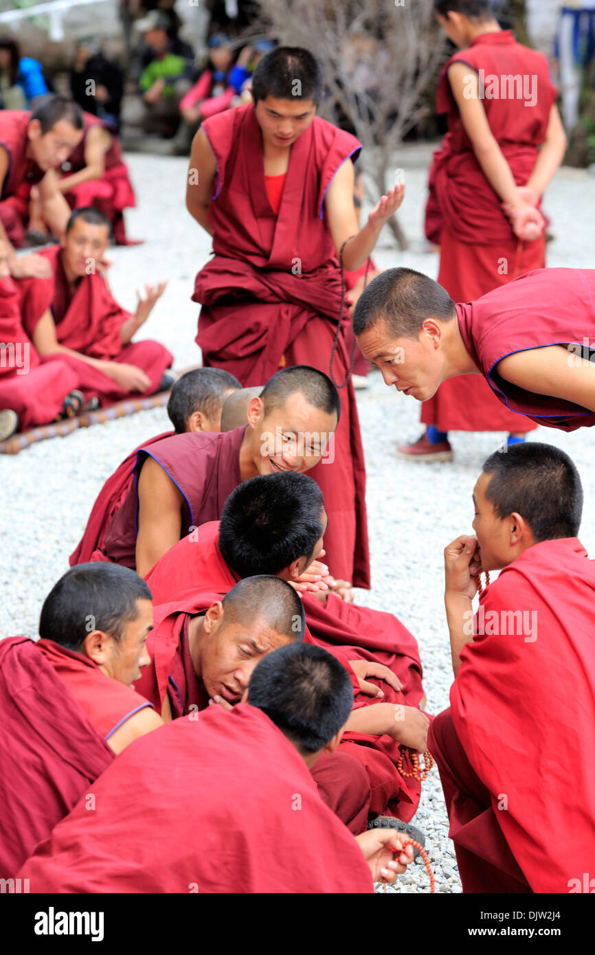 Monks dispute, Sera Monastery, Wangbur Mountain, Lhasa Prefecture, Tibet, China - Stock Image