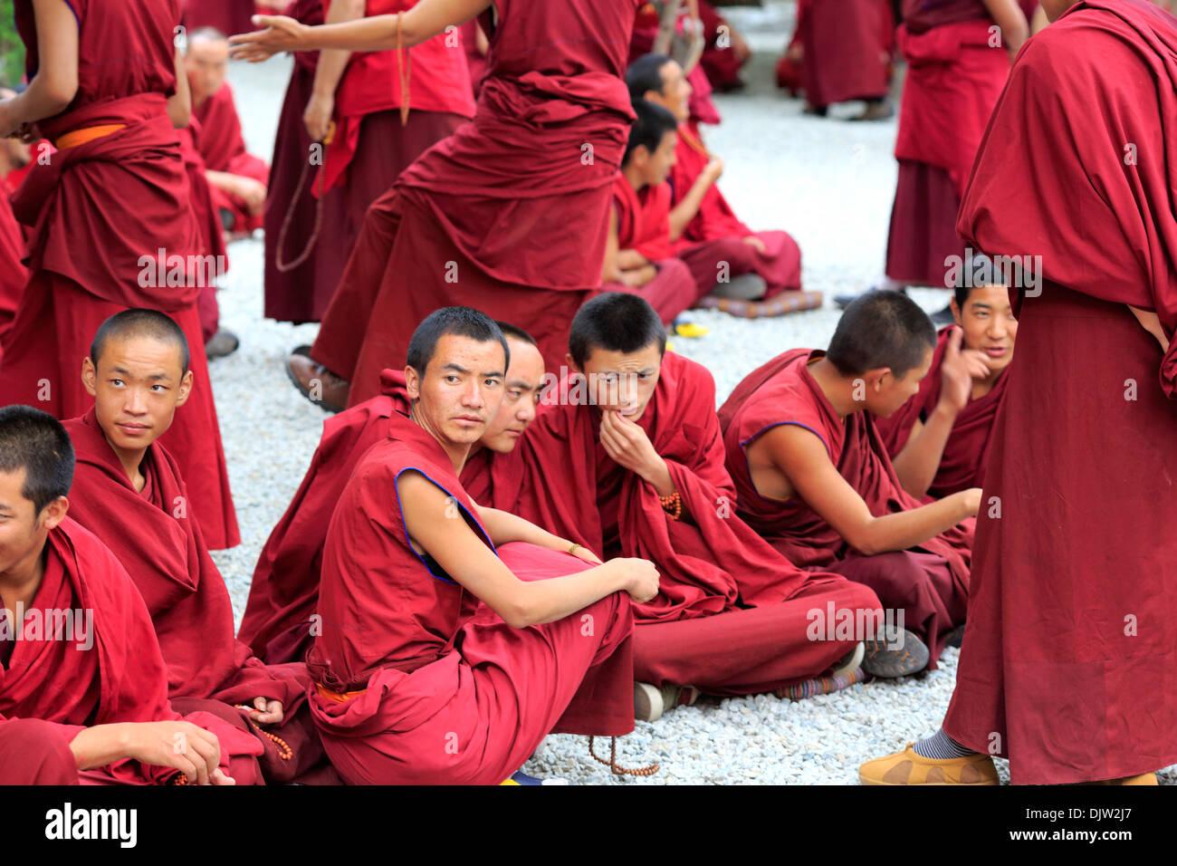 Monks dispute, Sera Monastery, Wangbur Mountain, Lhasa Prefecture, Tibet, China - Stock Image
