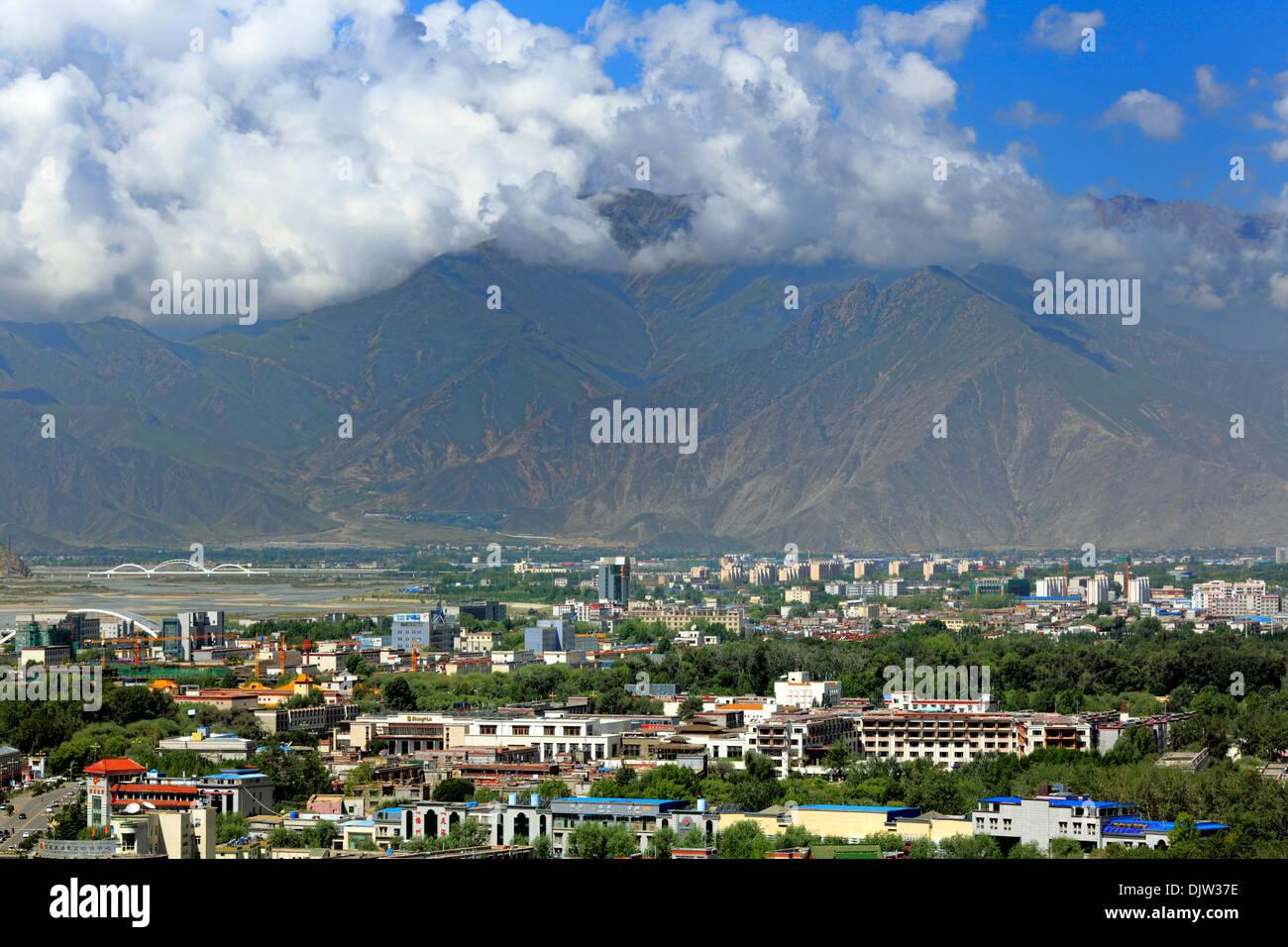 View of Lhasa city from Potala Palace, Lhasa, Tibet, China - Stock Image