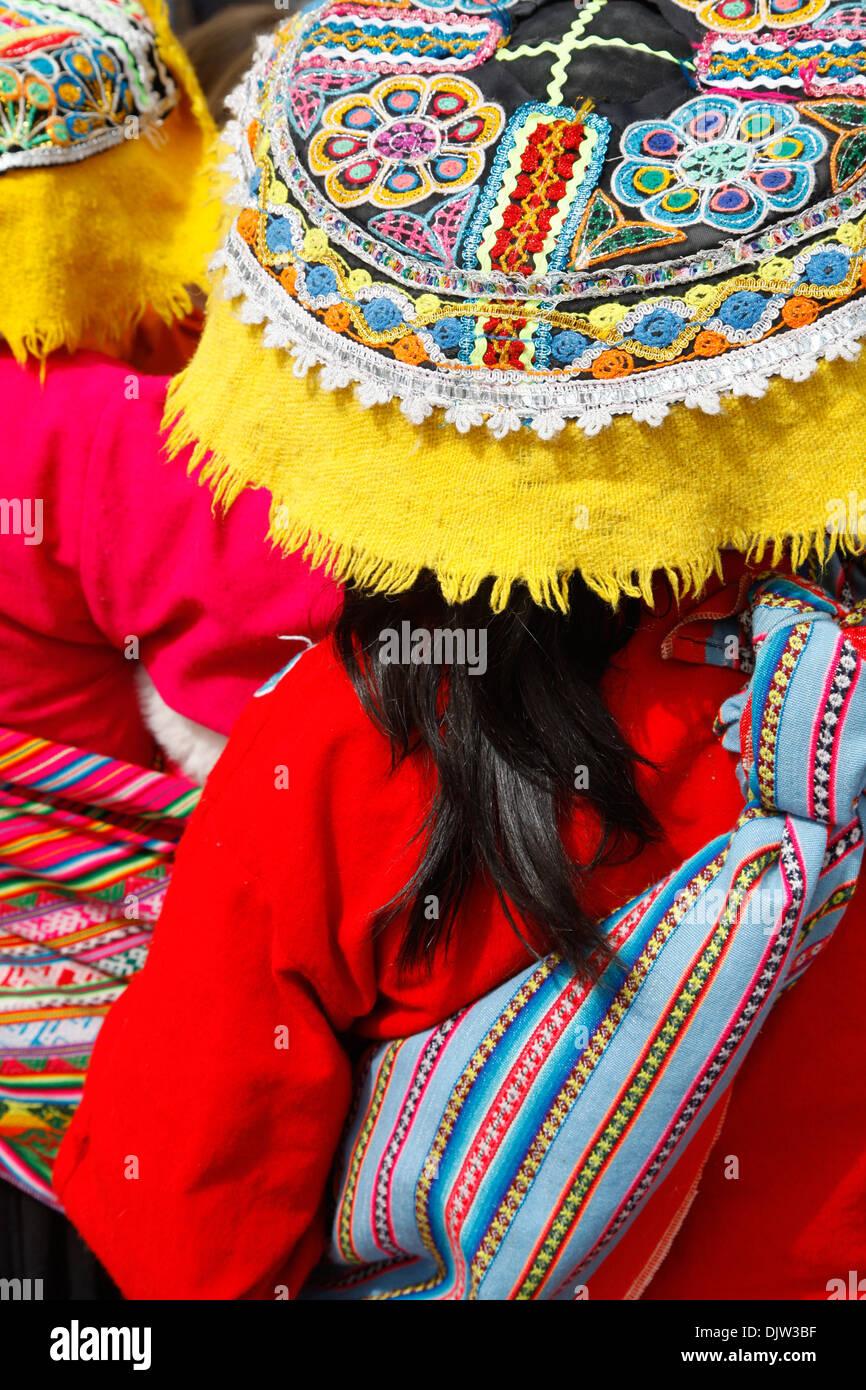 Detail of a traditional Quechua dress, Cuzco, Peru. - Stock Image