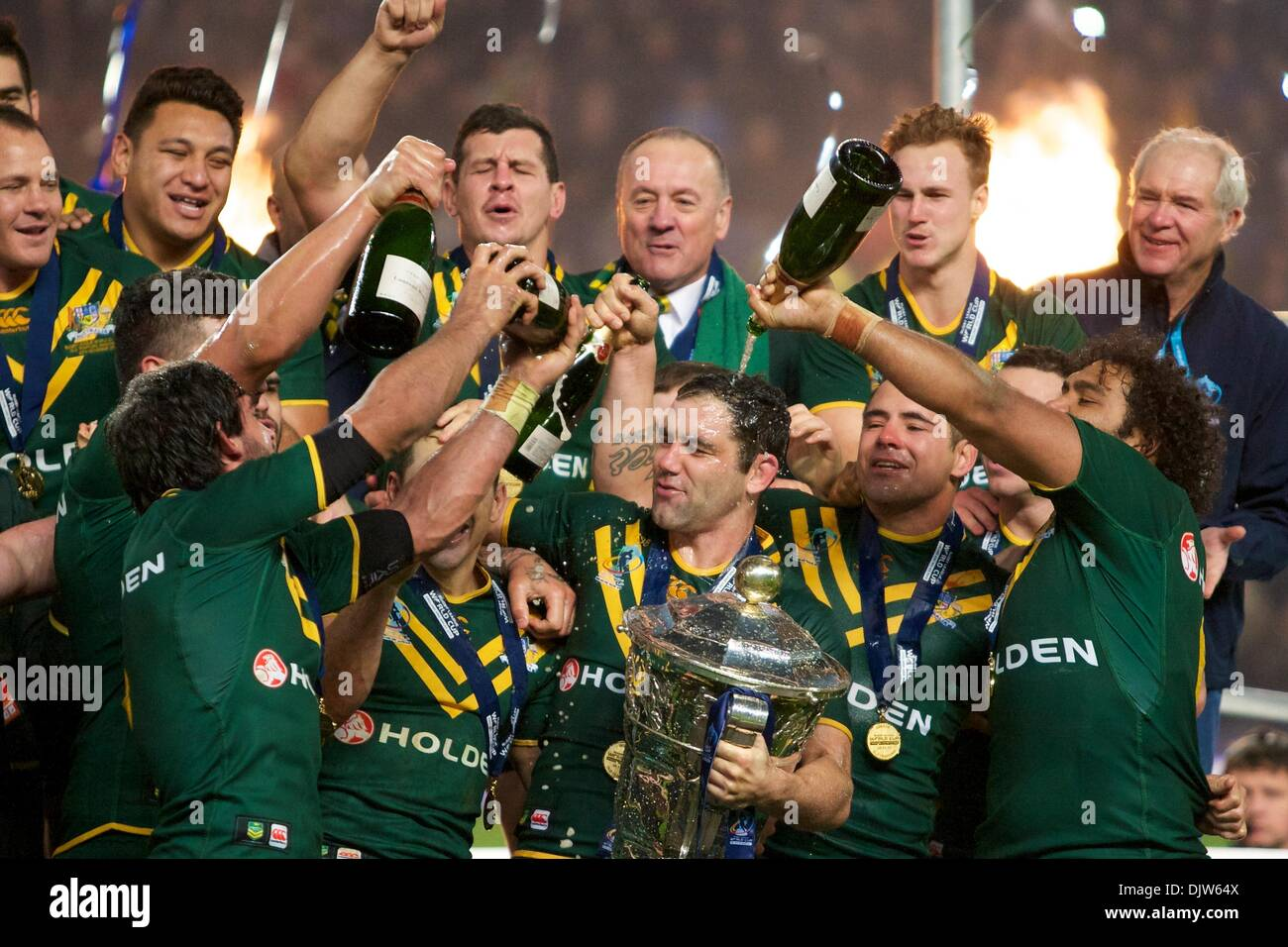 Manchester, UK. 30th Nov, 2013. Australis celebrate winning the Rugby League World Cup Final between Australia and Stock Photo