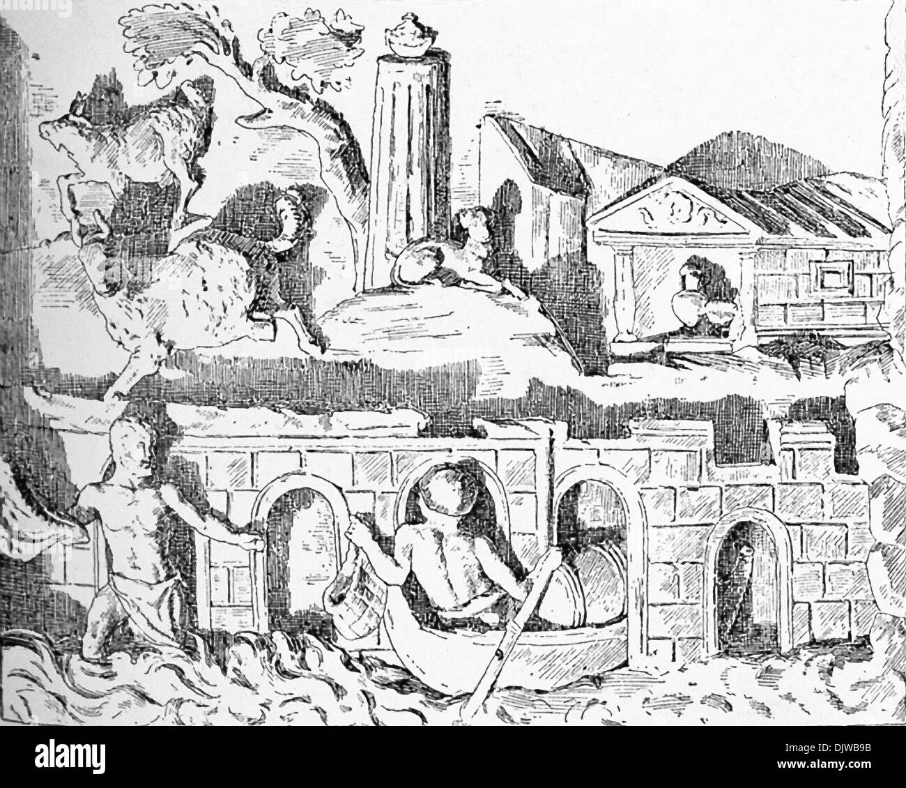 In the background is a mortuary chapel. In the foreground is a bridge-like structure, with men from Hellenistic period fishing. - Stock Image