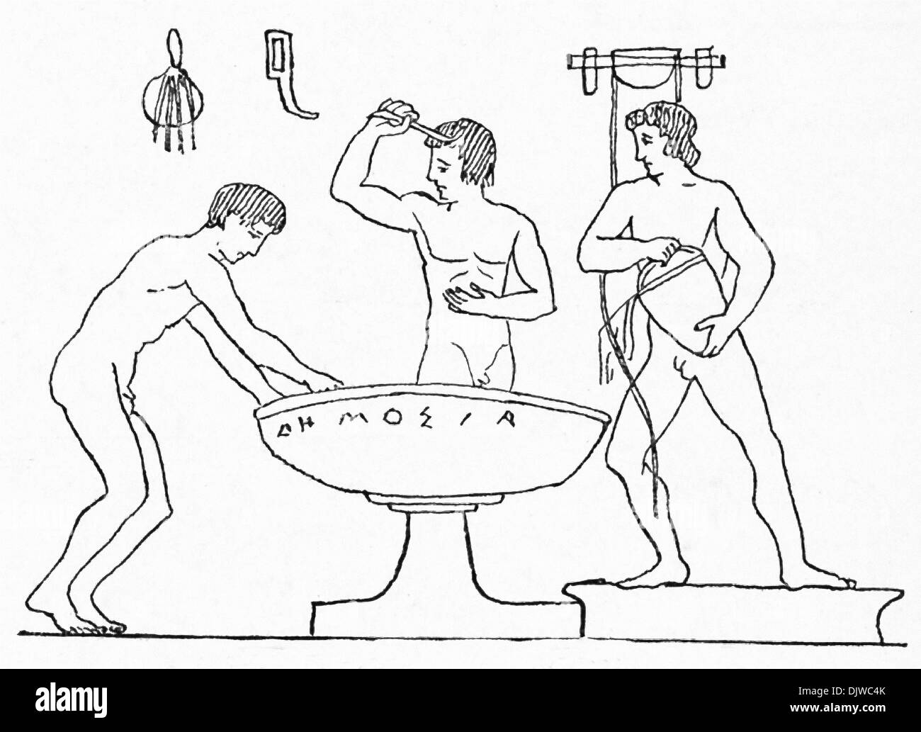 This red-figured vase painting shows ancient Greek youths washing after athletic practice. In the center is a large stone basin. - Stock Image