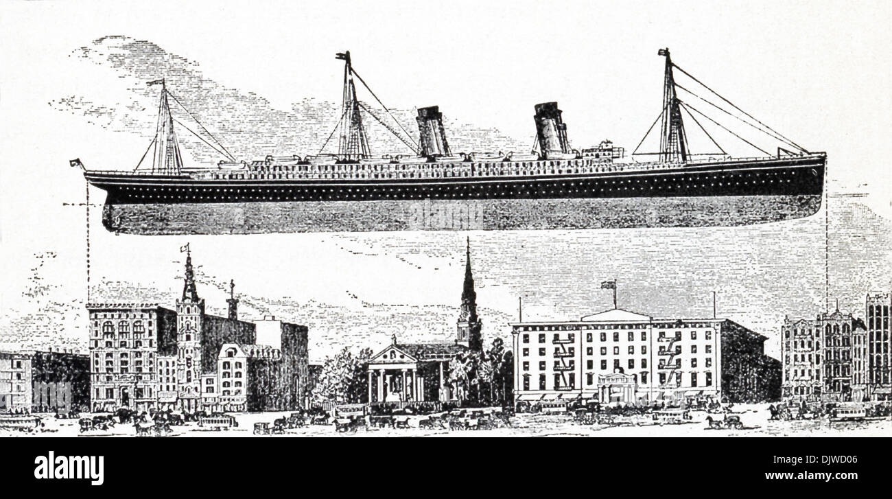 The RMS Oceanic is shown here by way of comparison with buildings on Broadway in New York. - Stock Image