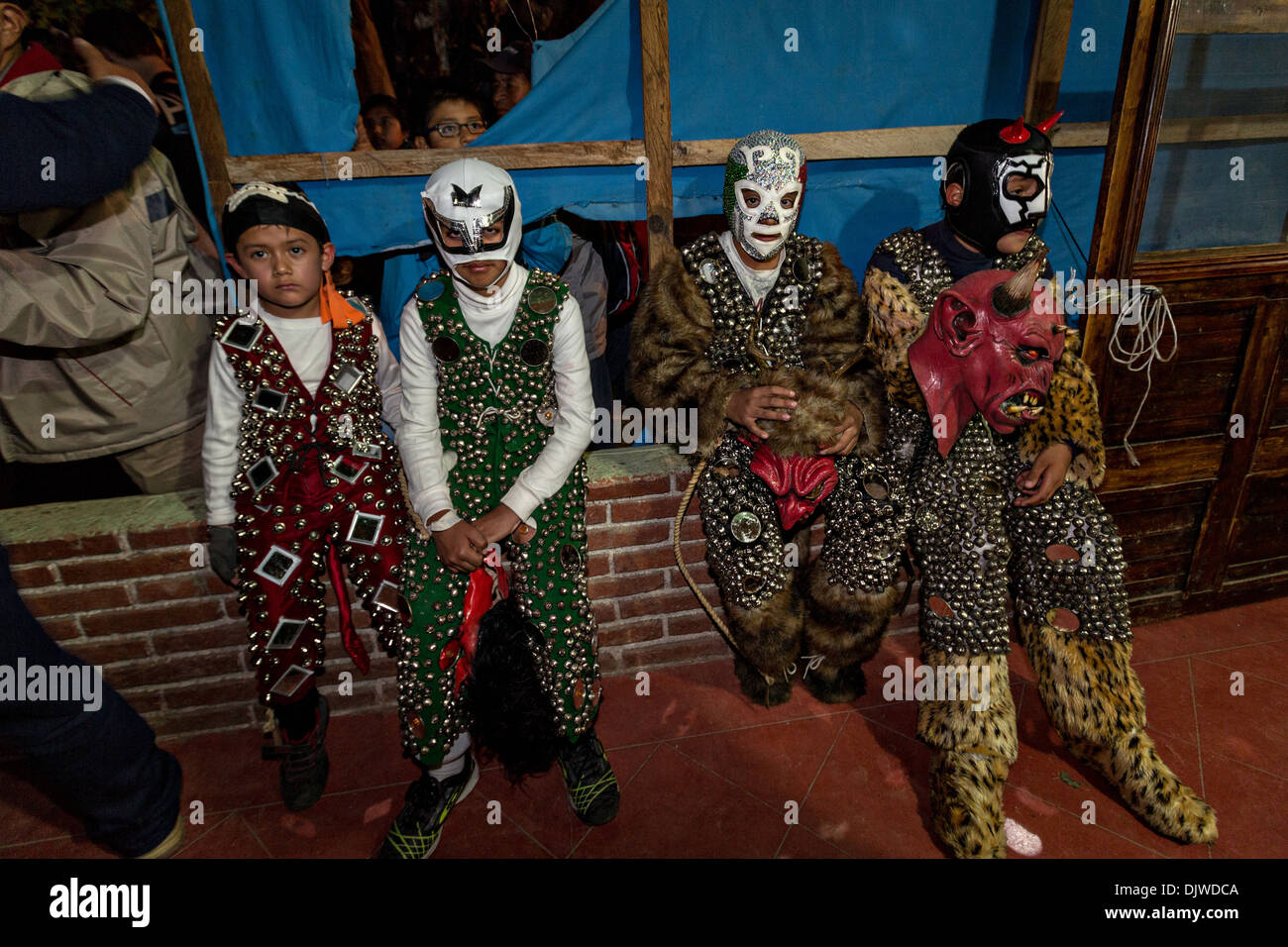 Costumed children wait for the start of the parade to celebrate the Day of the Dead Festival known in spanish as Stock Photo