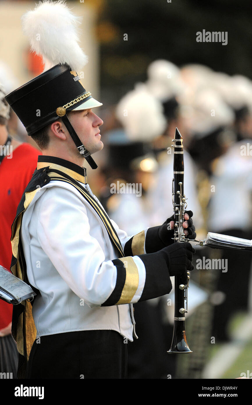 Oct. 9, 2010 - Nashville, Tennessee, United States of America - A Vanderbilt band member takes the field before the game between the Vanderbilt Commodores and Eastern Michigan Eagles at Vanderbilt Stadium in Nashville, Tennessee. The Commodores defeated the Eagles 52 to 6. (Credit Image: © Bryan Hulse/Southcreek Global/ZUMApress.com) - Stock Image