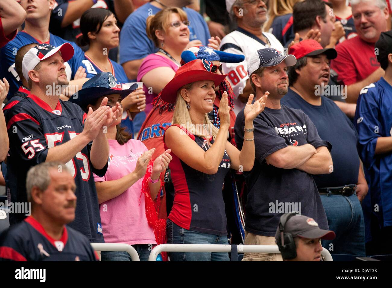 Oct. 10, 2010 - Houston, Texas, U.S - Houston Texans fan clapping for her home team. NY Giants defeated the Houston Texans 34-10 at Reliant Stadium. (Credit Image: © Juan DeLeon/Southcreek Global/ZUMAPRESS.com) - Stock Image