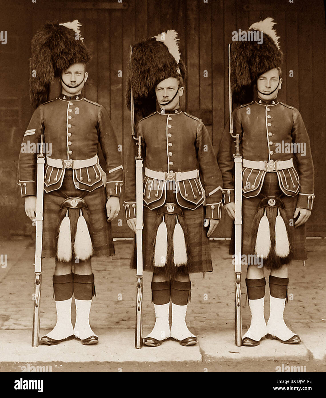 Queens Own Cameron Highlanders Victorian period - Stock Image