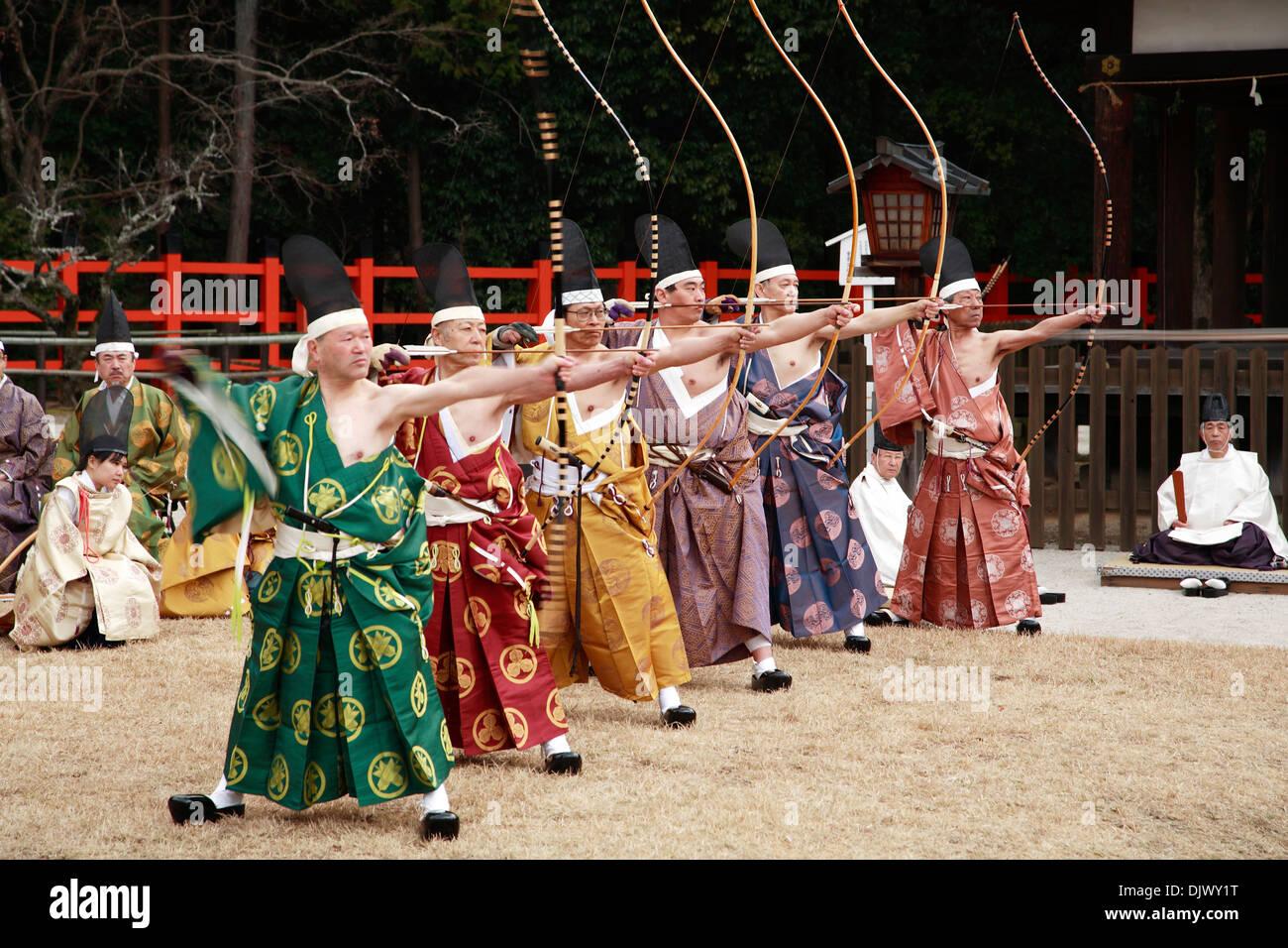 Japan, Kansai, Kyoto, Musha Shinji archery ceremony - Stock Image