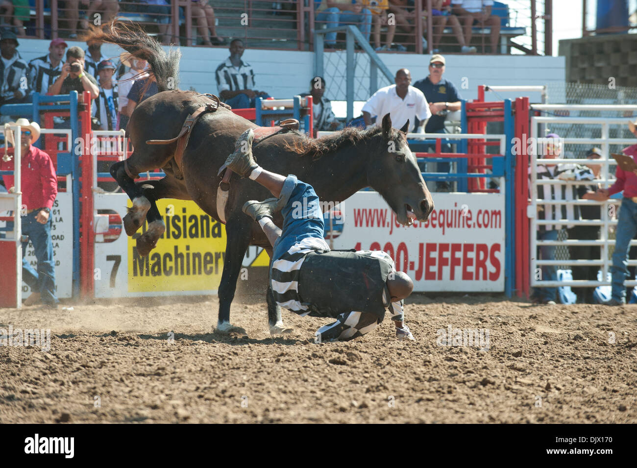 Oct 17, 2010 - Angola, Louisiana, U.S. - Inmates at the Louisiana State Penitentiary participate in the bareback riding event at the Angola prison rodeo, in Angola, Louisiana on October 17th, 2010. (Credit Image: © Scott Schexnaydre/ZUMApress.com) - Stock Image