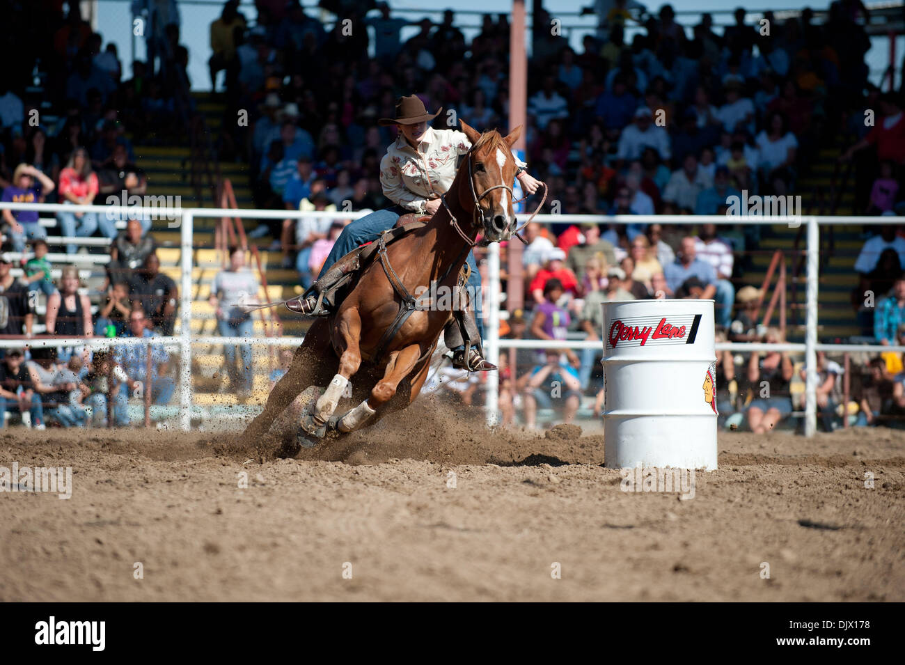 Oct 17, 2010 - Angola, Louisiana, U.S. - The only non convict event at the Angola prison rodeo is the barrel racing event. Here the all female contestants race around 3 barrels for the best times. (Credit Image: © Scott Schexnaydre/ZUMApress.com) - Stock Image