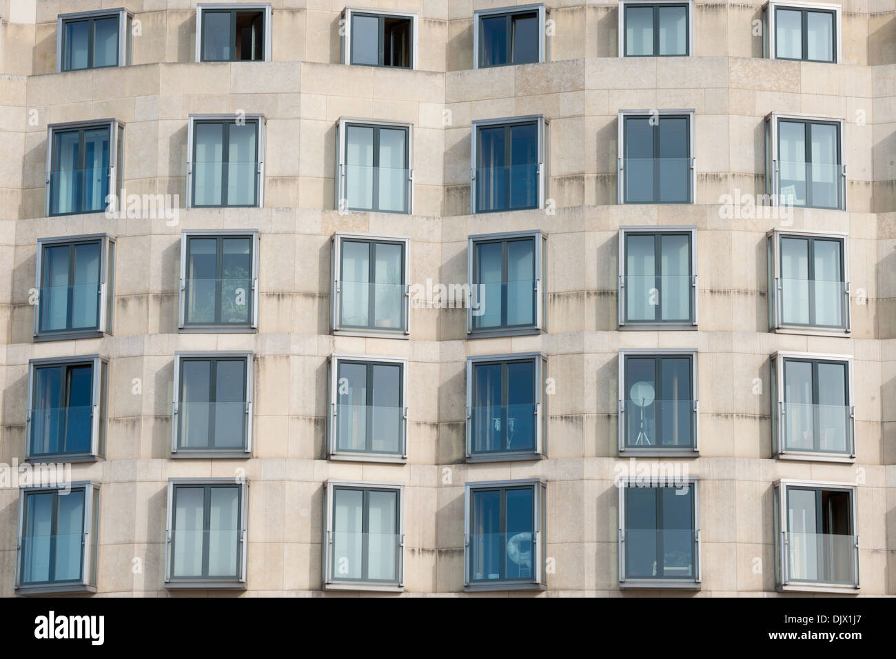 View of the exterior windows of the DZ Bank building in Berlin, Germany. Stock Photo