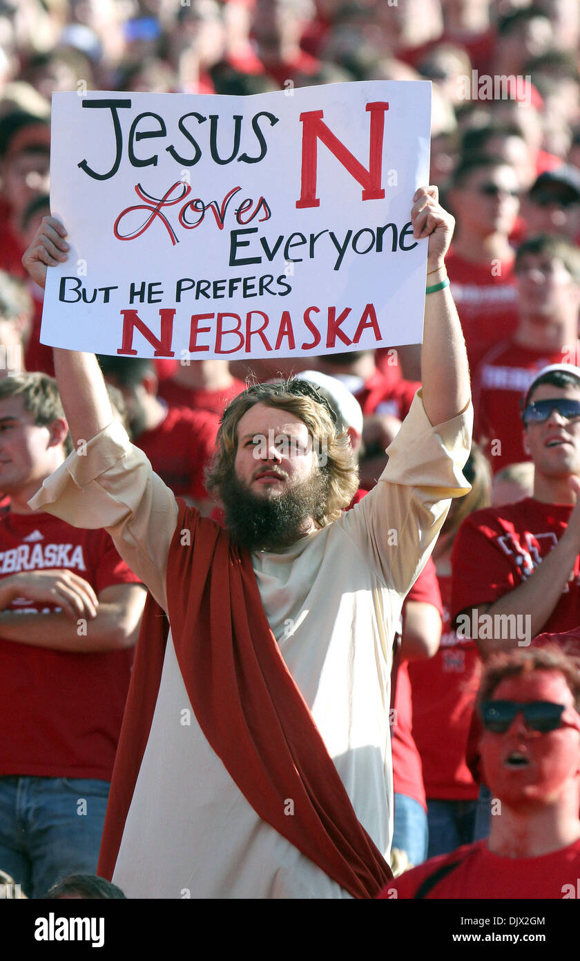 Oct. 19, 2010 - Lincoln, Nebraska, United States of America - A Nebraska fan dressed as Jesus shows his support for the Huskers during their game against Texas. Texas beat No. 4 Nebraska 20-13 at Memorial Stadium in Lincoln, Nebraska. (Credit Image: © Michelle Bishop/Southcreek Global/ZUMApress.com) - Stock Image