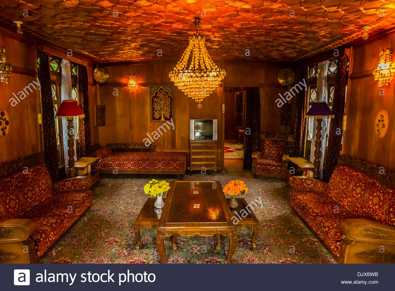 Interior view new golden hind a luxury houseboat on dal lake srinagar