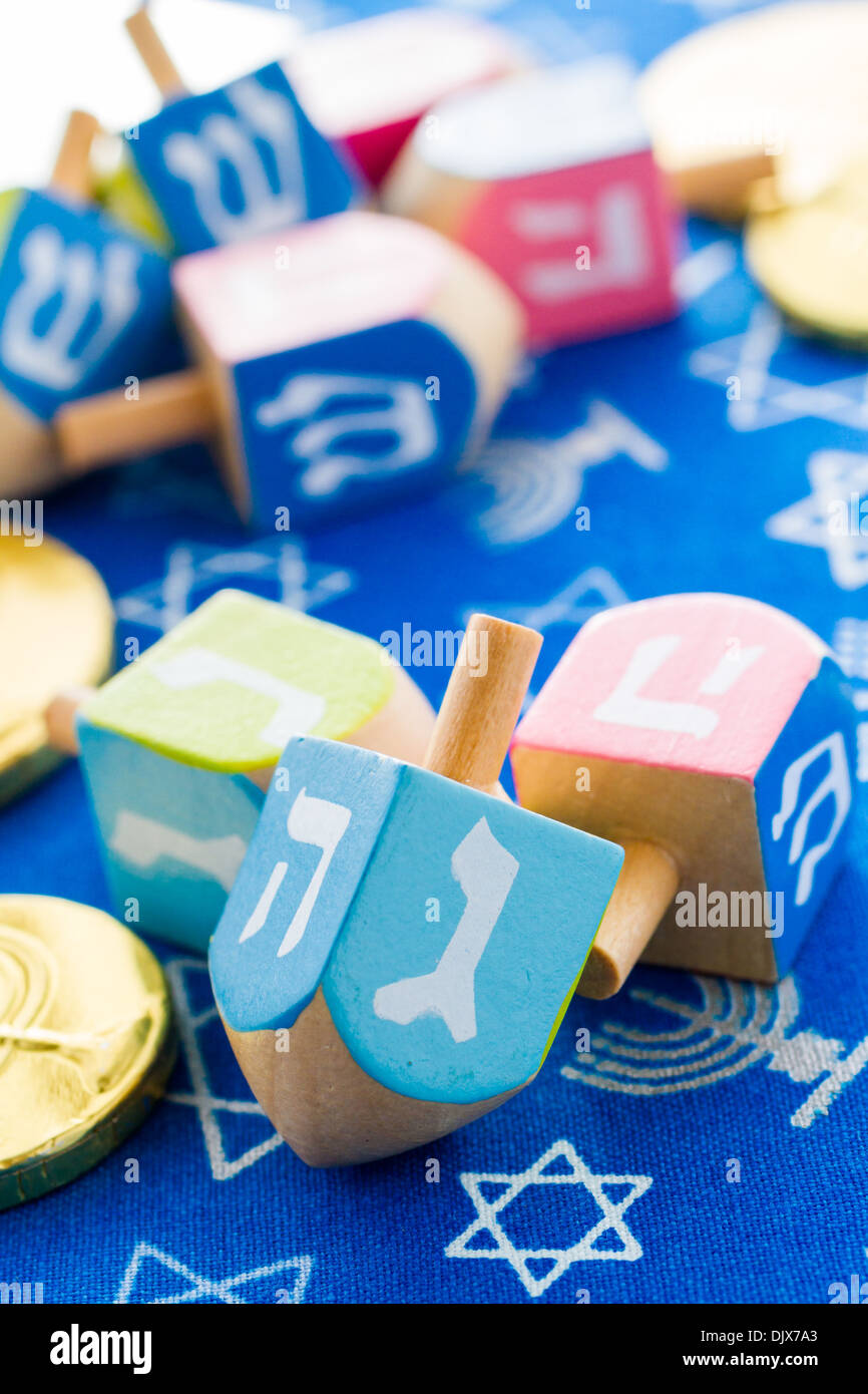 A still life composed of elements of the Jewish Chanukah/Hanukkah festival. - Stock Image