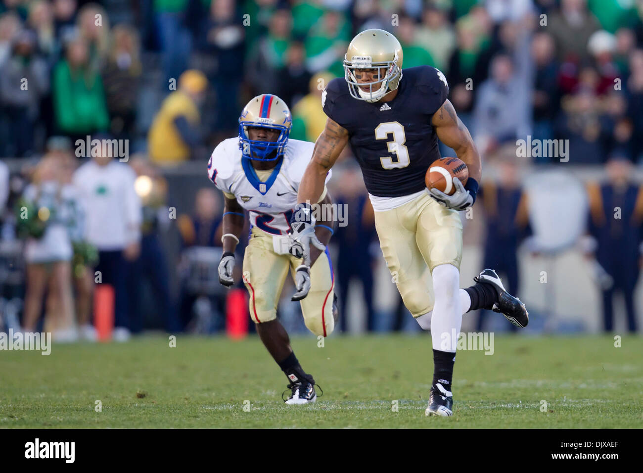 Oct. 30, 2010 - South Bend, Indiana, United States of America - Notre Dame wide receiver Michael Floyd (#3) runs for yardage after catch during NCAA football game between Tulsa and Notre Dame.  The Tulsa Golden Hurricane defeated the Notre Dame Fighting Irish 28-27 in game at Notre Dame Stadium in South Bend, Indiana. (Credit Image: © John Mersits/Southcreek Global/ZUMApress.com) - Stock Image