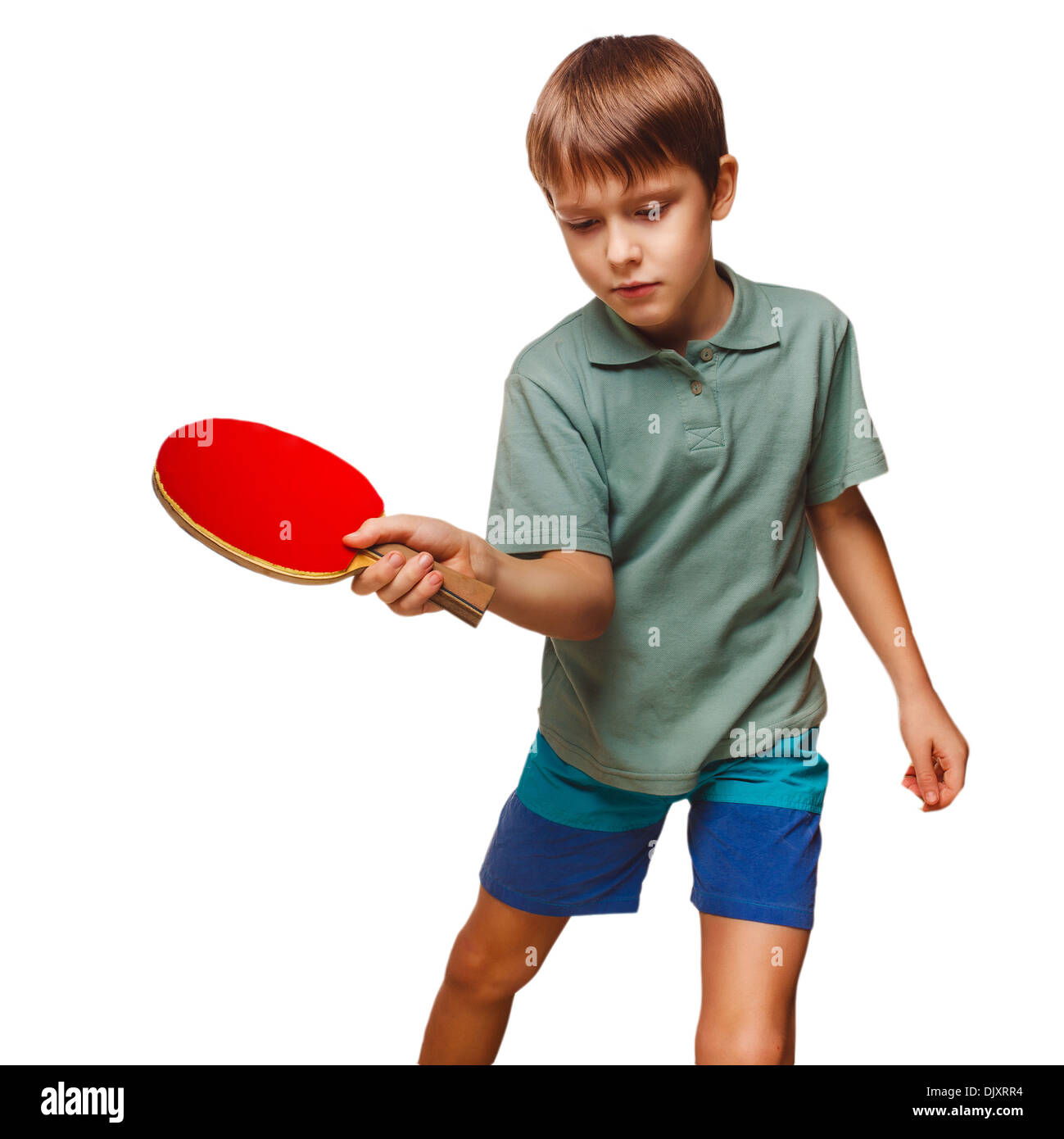 push boy blond man table tennis children playing forehand takes isolated on white background - Stock Image