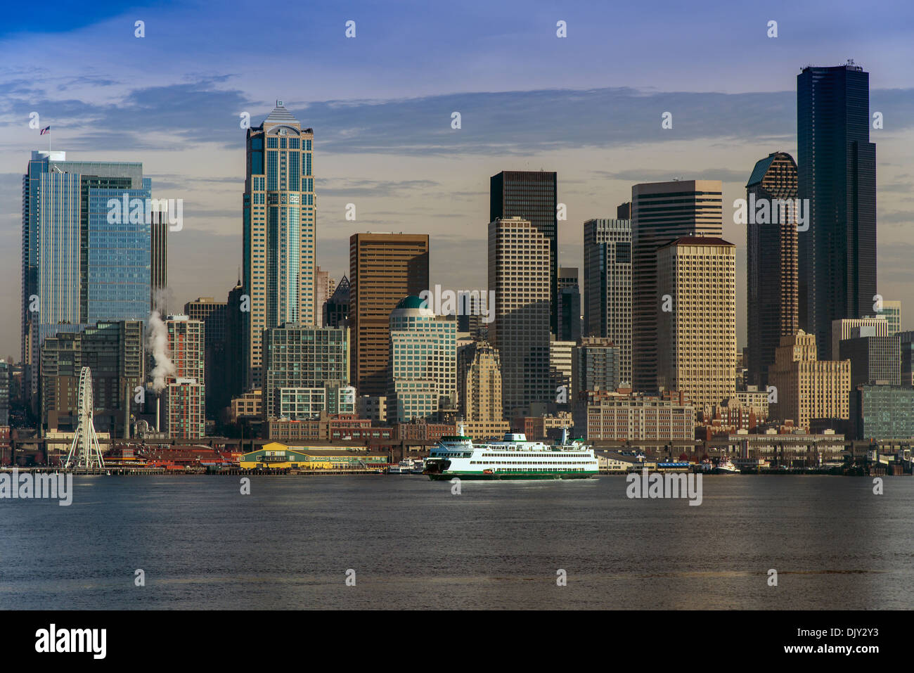 Panoramic view over the waterfront from the sea with Washington State ferry, Seattle, Washington, USA - Stock Image