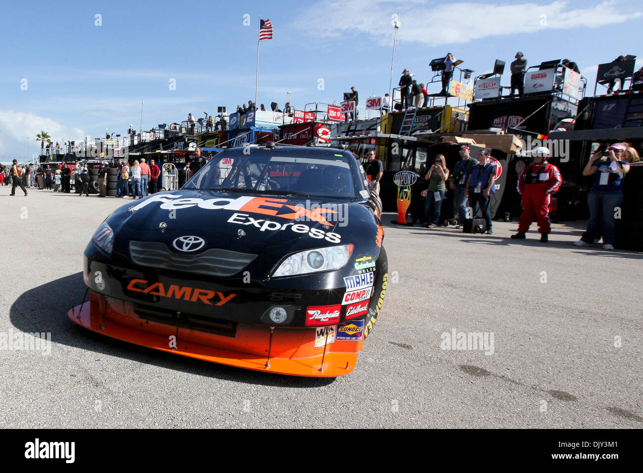 Nov. 20, 2010 - Homestead, Florida, United States of America - Denny Hamlin heady out of the pits to practice for the NASCAR Sprint Cup Series Ford 400 at Homestead Miami Speedway in Homestead, Florida. (Credit Image: © Ben Hicks/Southcreek Global/ZUMAPRESS.com) - Stock Image