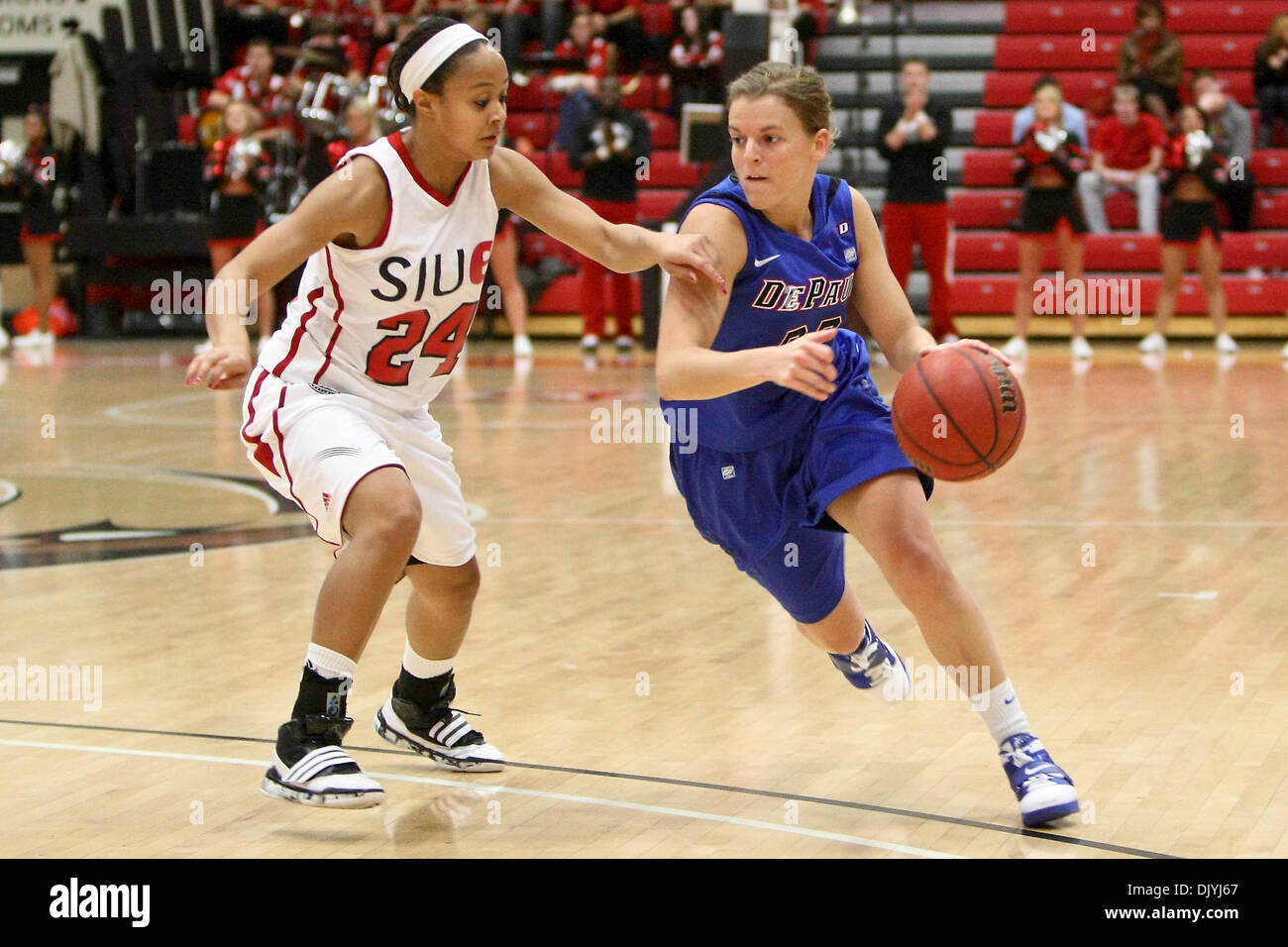 Dec. 3, 2010 - Edwardsville, Illinois, United States of America - DePaul guard Sam Quigley (22) and SIUE guard Courtney Kenner (24)  during a game between Southern Illinois University Edwardsville (SIUE) and DePaul University at the Sam M. Vadalabene Center in Edwardsville, Illinois. DePaul defeated SIUE 76-40. (Credit Image: © Scott Kane/Southcreek Global/ZUMAPRESS.com) - Stock Image