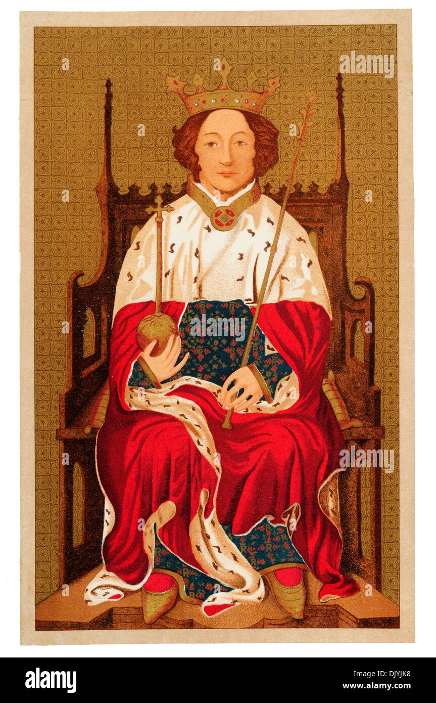 Richard II (6 January 1367 – ca. 14 February 1400) was King of England from 1377 until he was deposed in 1399 chromolitho - Stock Image