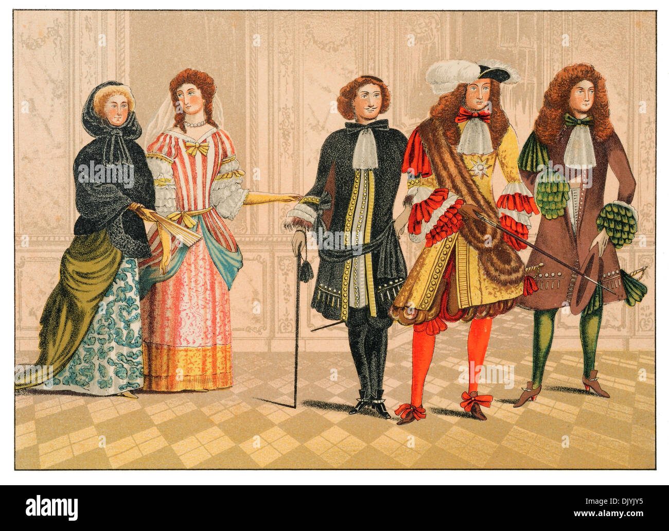 Personages of distinction Germany from Goodrich court c 1680  chromolitho - Stock Image