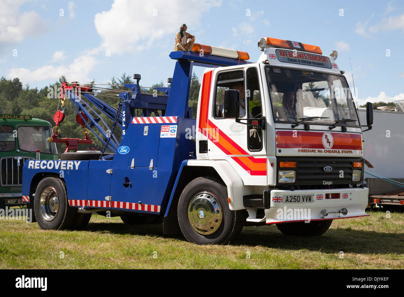A Ford Cargo recovery truck. - Stock Image