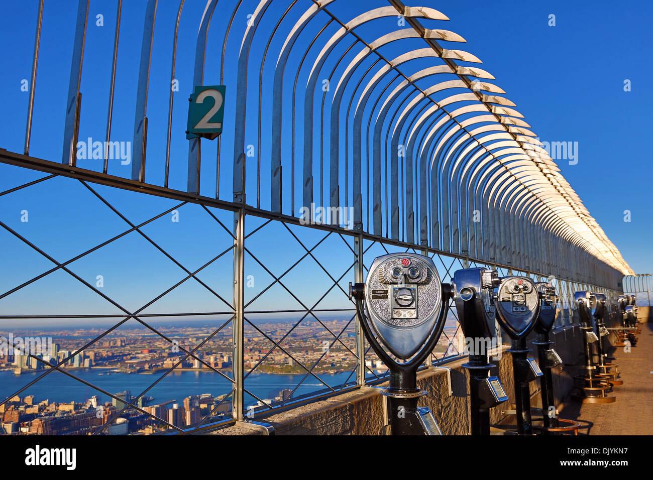 New York Manhattan city skyline and tower viewer telescope ...
