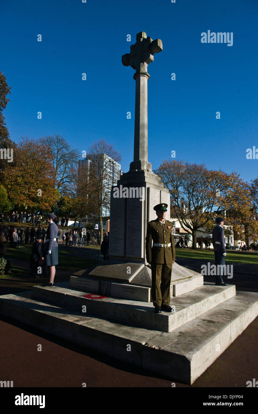 Image of Air Training Corps and  Army Cadet on duty during the Remembrance Service in Hemel Hempstead. - Stock Image