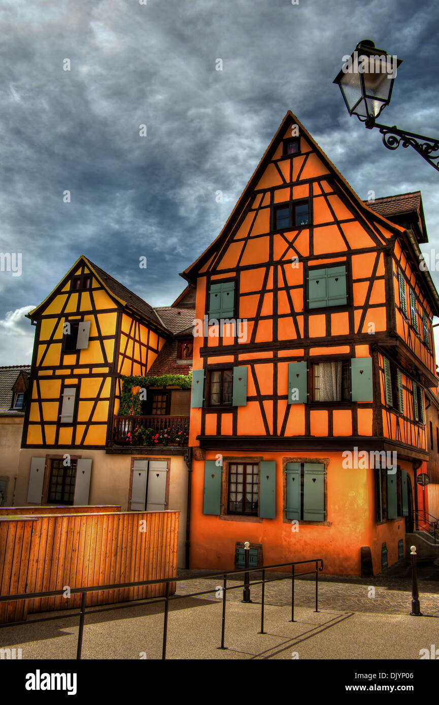 Yellow and orange frame house in Colmar (France), HDR-technique - Stock Image
