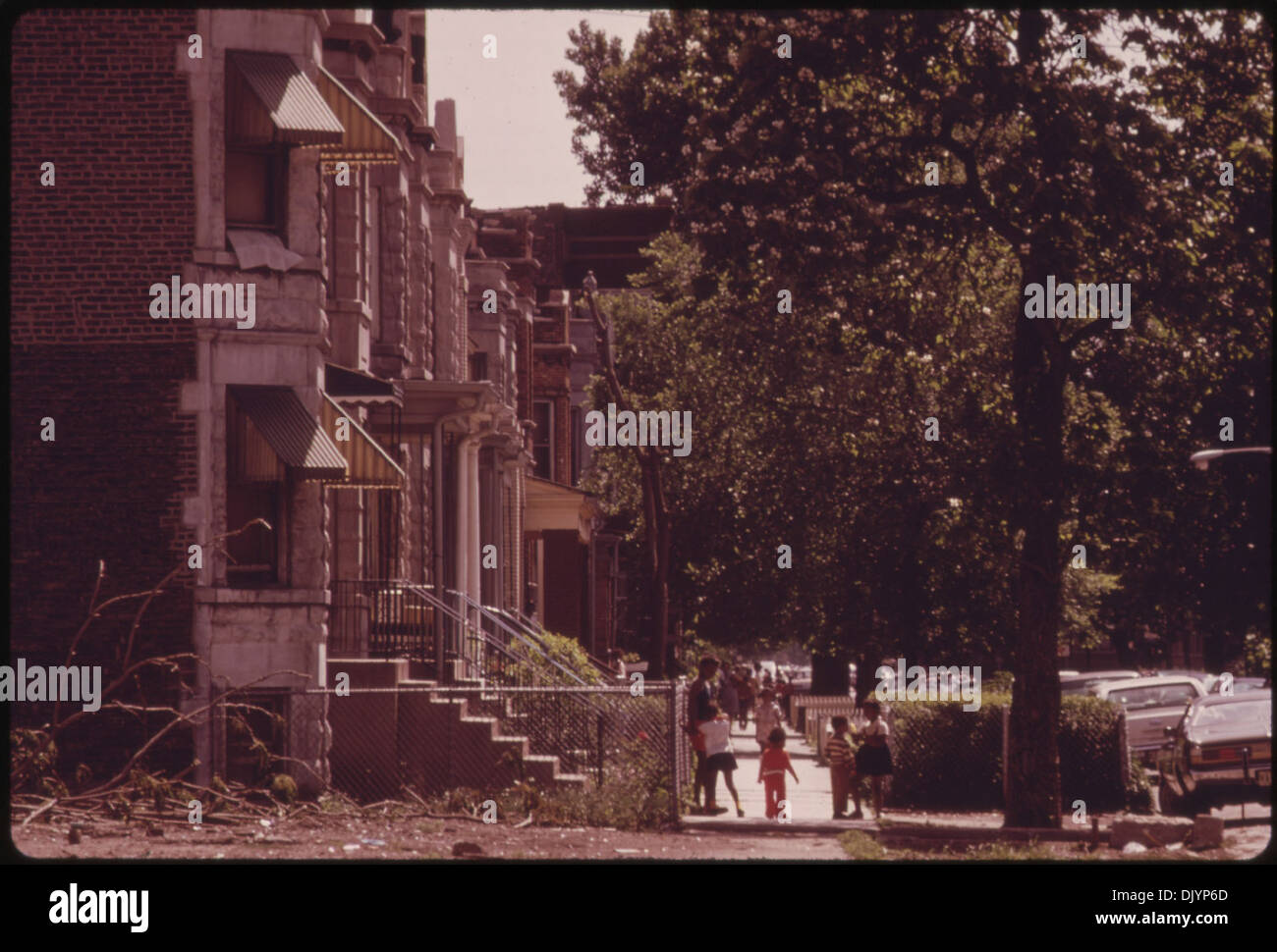 BLACK NEIGHBORHOOD ON CHICAGO'S WEST SIDE. THE WEST SIDE WAS HARD HIT BY RIOTS AND FIRES IN THE MID AND LATE - Stock Image