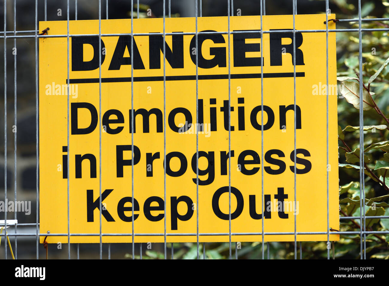 Building site sign: Danger Demolition in progress - Keep Out - Stock Image